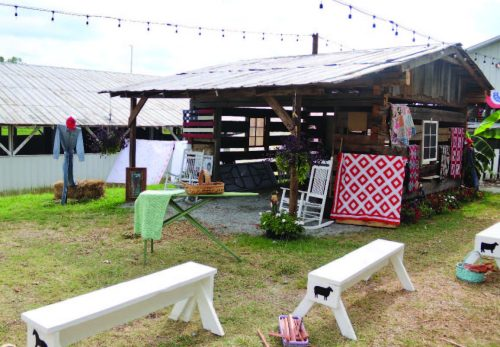 Dry Levee Salvage has erected a log cabin to use for live demonstrations and display of quilts, an old ironing board, and utensils used during the 40s./50s.